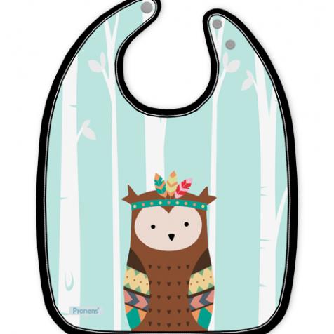 Babero bebé original impermeable personalizado Búho tribal secado rápido