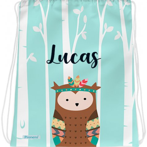 comprar Bolsa mochila guardería personalizada impermeable con Búho indio