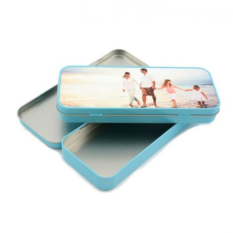 Estuches metálicos escolares de aluminio personalizables con tu foto o diseño en la tapa